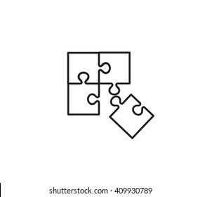 Puzzle flat icon - vector simple dark puzzle symbol or jigsaw logo element. Business sign