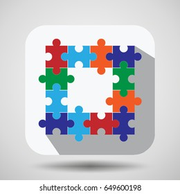 puzzle flat icon,vector illustration