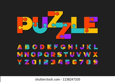 Puzzle font, colorful jigsaw puzzle alphabet letters and numbers, vector illustration