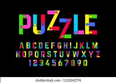 Puzzle font, jigsaw puzzle alphabet and numbers, vector illustration