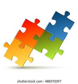 puzzle with four colored parts for teamwork symbolism