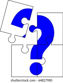 Puzzle of four parts forming a question mark