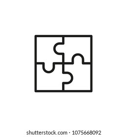 Puzzle with four parts line icon. Jigsaw, square, match. Integrity concept. Can be used for topics like challenge, management, problem solving.