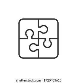 Puzzle with four parts line icon. Vector Illustration.