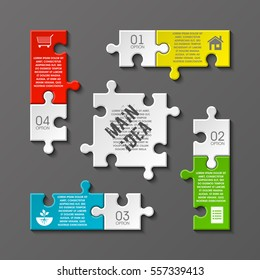 Puzzle four piece business presentation. Square infograph. Circle 4 Step process diagram card. Section compare service banner. Vector illustration template color shape . 3d Abstract Background
