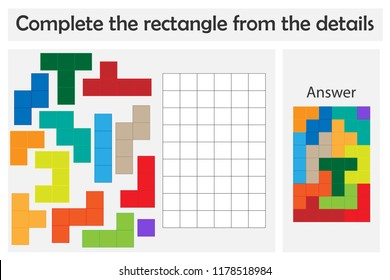 Puzzle game with colorful details for children, complete rectangle, hard level, education game for kids, preschool worksheet activity, task for the development of logical thinking, vector illustration