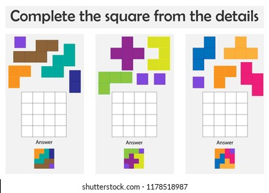 Puzzle game with colorful details for children, complete the square, level 2, education game for kids, preschool worksheet activity, task for the development of logical thinking, vector illustration