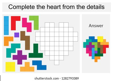 Puzzle game with colorful details for children, complete the heart, hard level, education game for kids, preschool worksheet activity, task for the development of logical thinking, vector illustration