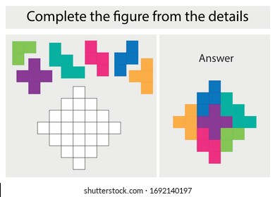 Puzzle game with colorful details for children, complete figure, middle level, education game for kids, preschool worksheet activity, task for the development of logical thinking, vector illustration