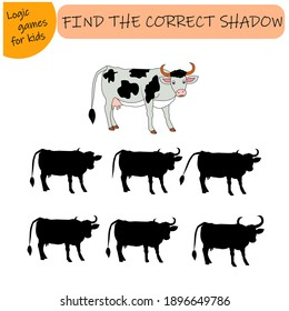 A puzzle game for kids. Choose the right shadow. Cow, farm animal. Vector illustration isolated on white background