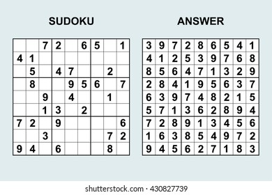 Puzzle game with numbers. Vector Sudoku with answer.