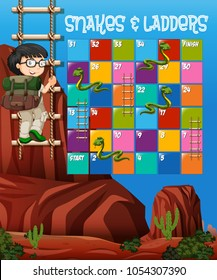 Puzzle game template with boy climbing up ladder in background illustration