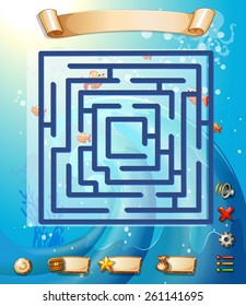 Puzzle game template with underwater scene