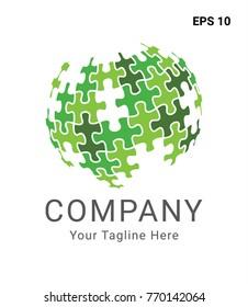 Puzzle Globe Green Logo