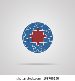 Puzzle Globe icon with shadow. Vector illustrations