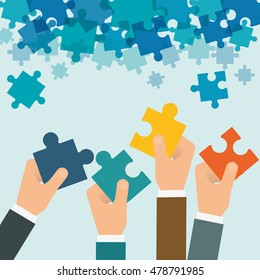 puzzle hand teamwork support collaborative cooperation work icon set. Colorful design. Vector illustration