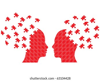 Puzzle head couple vector