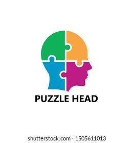 Puzzle Head Logo Template Design