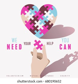 Puzzle Heart and Hand vector poster design concept. Relationship, volunteerism, help, charity and community symbol.