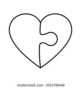Puzzle heart on white background