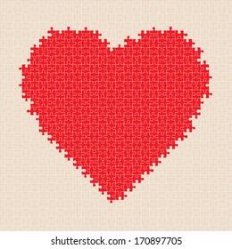 Puzzle heart pattern. Vector illustration