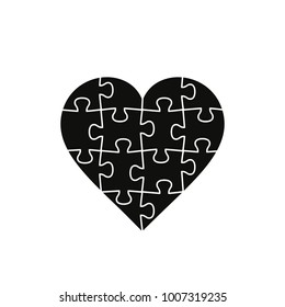 Puzzle Heart, vector black illustration isolated on white background.