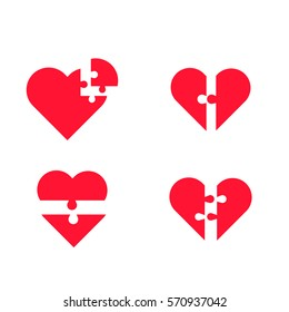 puzzle heart vector set
