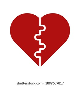 Puzzle heart vector, Valentine and love related line style icon on white background
