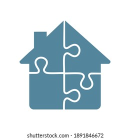 Puzzle house icon on white background.