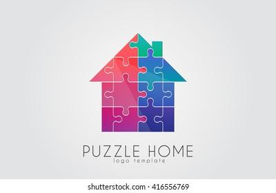 Puzzle house logo. Puzzle home. Creative logo design. Color house