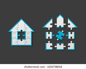 Puzzle house presentation. Home puzzles kit banner. Infographic template with explanatory text field for business statistics. Vector puzzle building illustration. Four pieces home