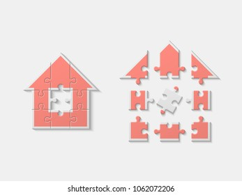 Puzzle house presentation. Home puzzles kit banner. Infographic template with explanatory text field for business statistics. Vector puzzle building illustration. Nine pieces home
