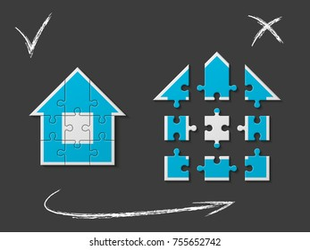Puzzle house presentation. Home puzzles kit banner. Infographic template with explanatory text field for business statistics. Vector puzzle building illustration. Nine pieces home game set