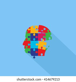 Puzzle Human Head Profile - Isolated On Blue Background - Vector Illustration, Graphic Design. Abstract Concept