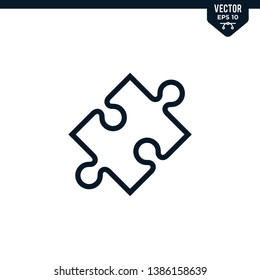 Puzzle icon collection in outlined or line art style, editable stroke vector
