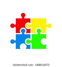Puzzle icon, colorful isolated on white background, vector illustration.