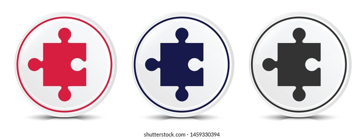 Puzzle icon crystal flat round button set illustration design isolated on white background