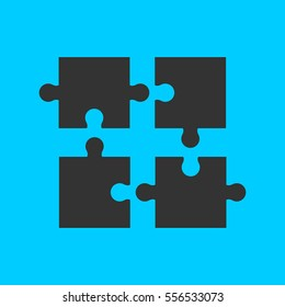 Puzzle icon flat. Simple vector black pictogram on blue background