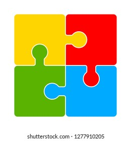 puzzle icon - puzzle isolate, teamwork illustration- Vector puzzle