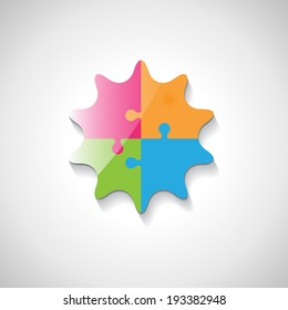 Puzzle Icon - Isolated On Gray Background, Vector Illustration, Graphic Design Editable For Your Design