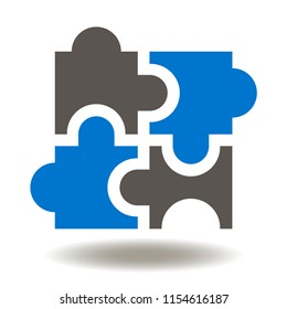 Puzzle Icon. Jigsaw four elements of the puzzles vector illustration. Logistic Sign. Logical mind logo. Think Symbol. Reconcilability, compatibility.