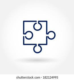 Puzzle icon. Modern icons for mobile interface. Fine line pixel aligned mobile ui icons with variable line width. Vector illustration.