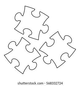 Puzzle icon. Outline illustration of puzzle vector icon for web