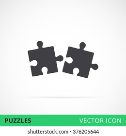 Puzzle icon shape vector icon two together compound and coupling in process, black silhouette puzzle icon, vector puzzles game sign, puzzle move together