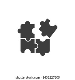 Puzzle icon template black color editable. Puzzle symbol Flat vector sign isolated on white background. Simple logo vector illustration for graphic and web design.