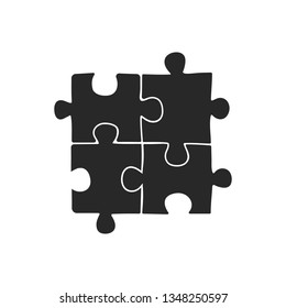 Puzzle icon vector, filled flat sign, solid pictogram isolated on white.