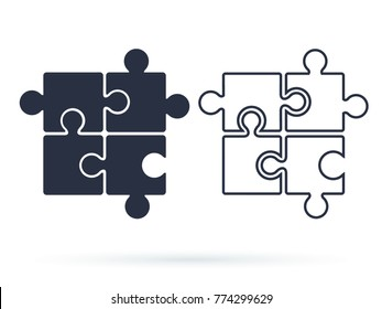 Puzzle icon vector, filled flat sign, solid and line pictogram isolated on white. Plugins symbol, logo illustration. Parts of paper puzzles Business concept for infographics or website