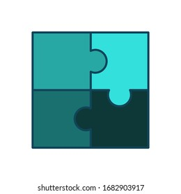 Puzzle icon vector in flat design template