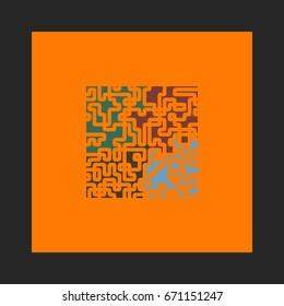 Puzzle Icon Vector. Flat simple pictogram on orange background. Illustration symbol color