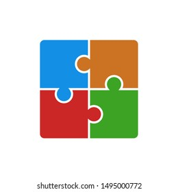 Puzzle icon vector illustration. Four puzzle pieces connected to each other. Vector web design